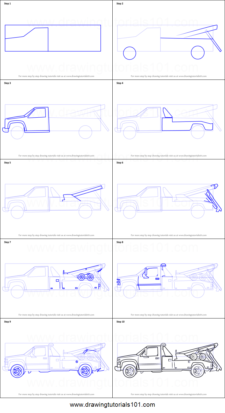 How To Draw A Tow Truck Printable Step By Step Drawing Sheet Drawingtutorials101 Com