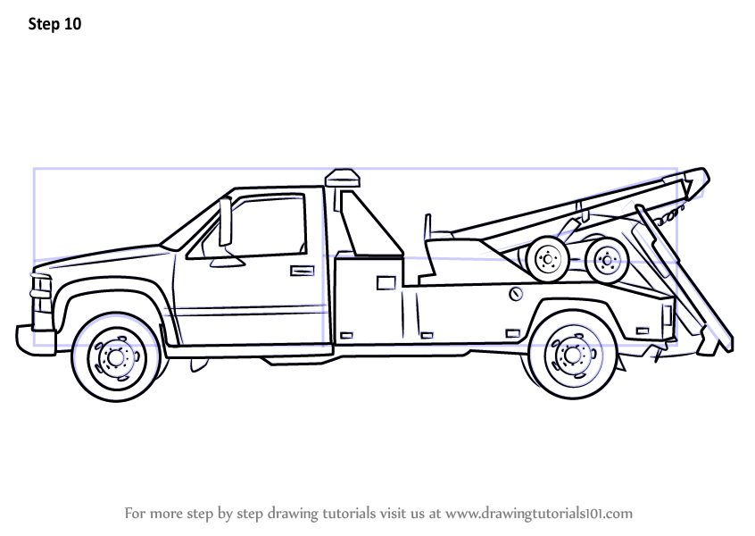 Learn How To Draw A Tow Truck Trucks Step By Step