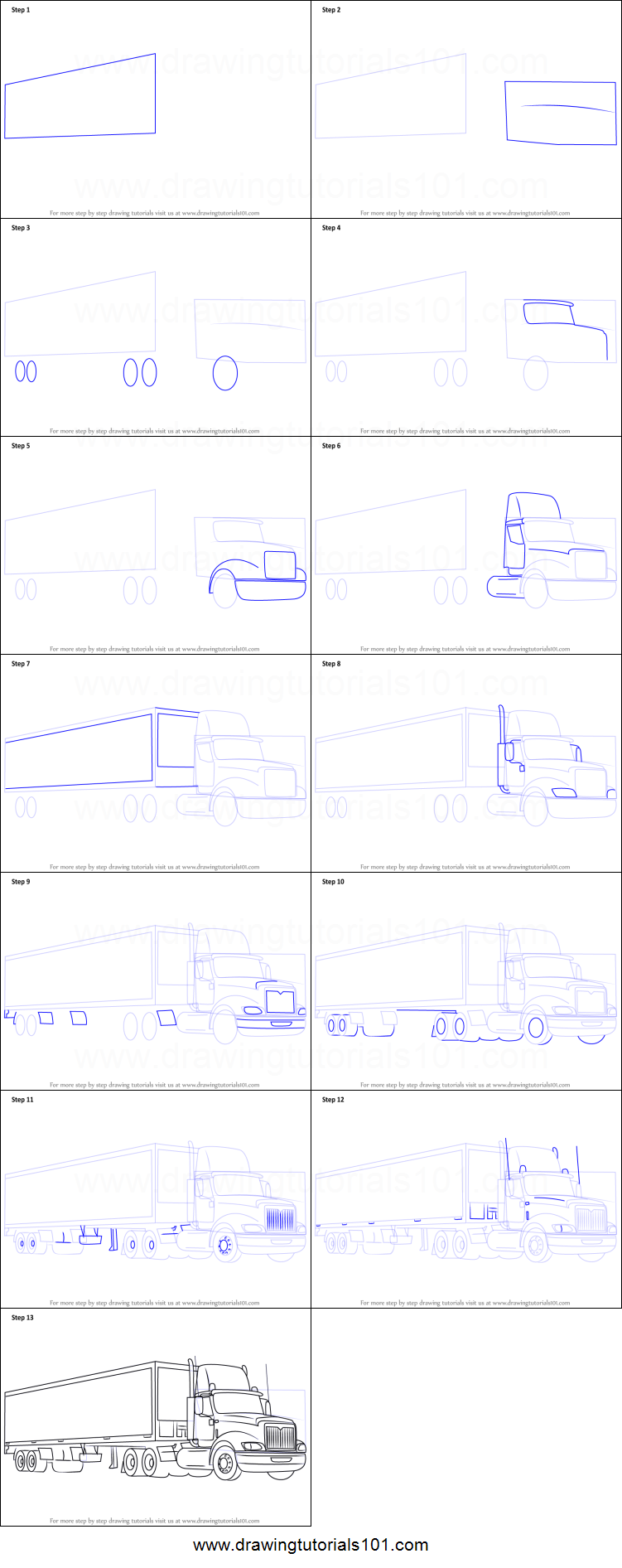 Uncategorized How To Draw A Truck Step By Step how to draw a truck and trailer printable step by drawing sheet drawingtutorials101 com