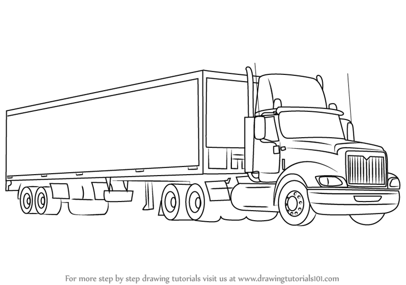 Learn How To Draw A Truck And Trailer Trucks Step By Step