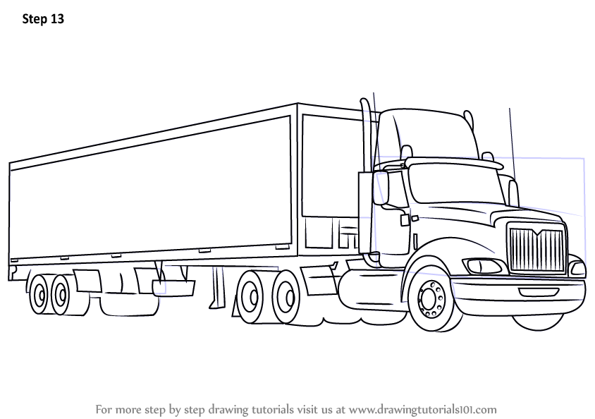 Learn How to Draw a Truck and Trailer (Trucks) Step by ...