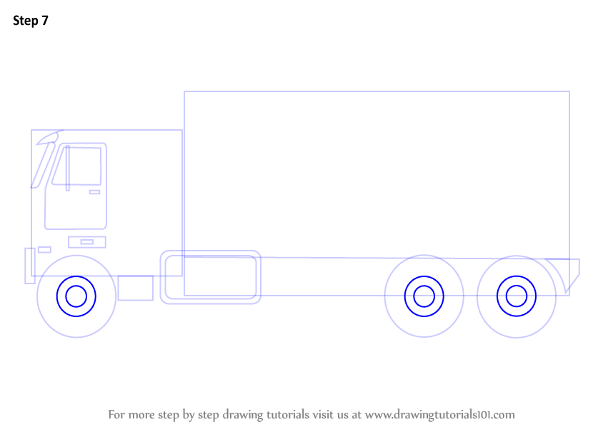 how to draw a truck step by step on paper