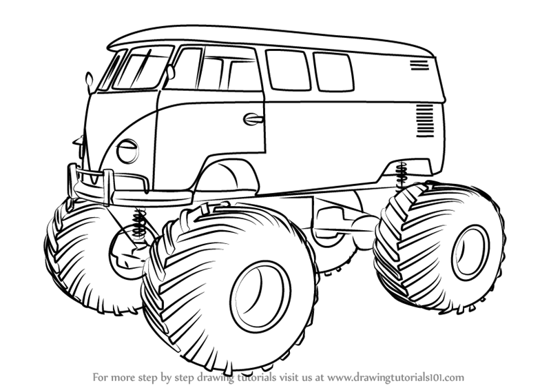Learn How To Draw A Volkswagen Monster Truck Trucks Step By Step Drawing Tutorials