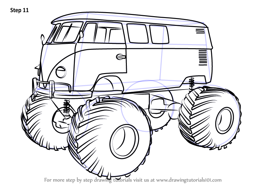 How to Draw a Monster Truck | Drawingforall.net