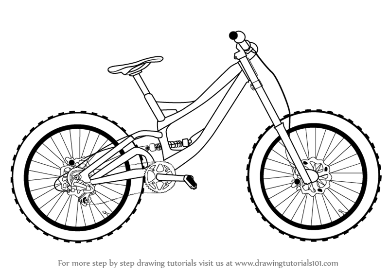 Line Drawing Bike : Learn how to draw a bicycle two wheelers step by