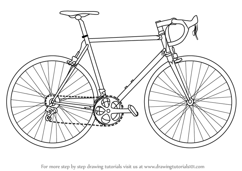 Line Drawing Bike : Learn how to draw a bike two wheelers step by