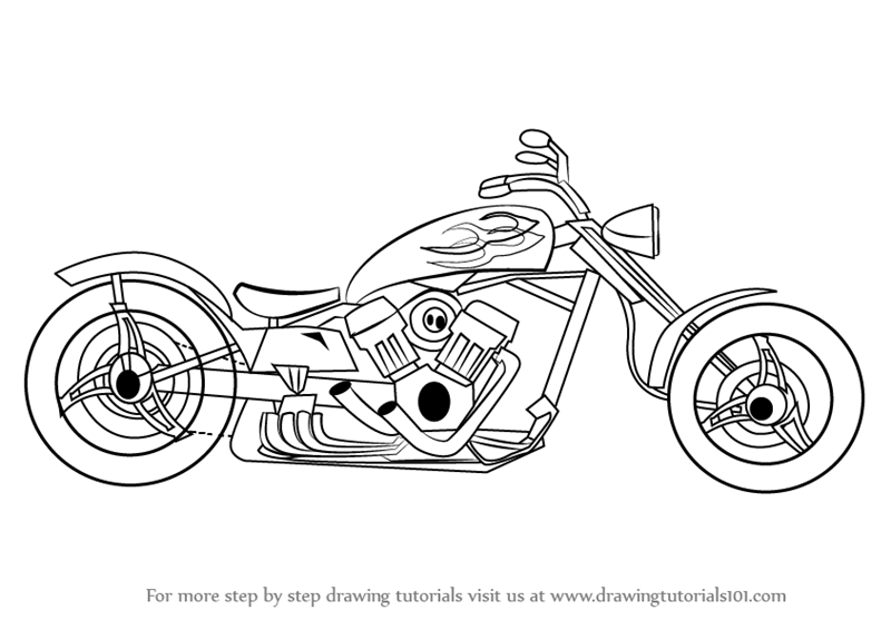learn how to draw a chopper two wheelers step by step drawing tutorials
