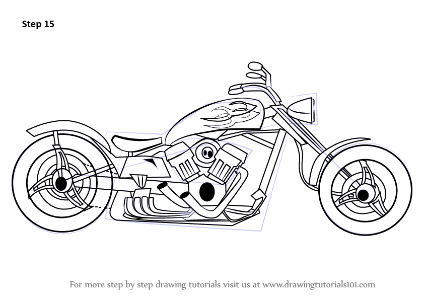 learn how to draw a chopper  two wheelers  step by step