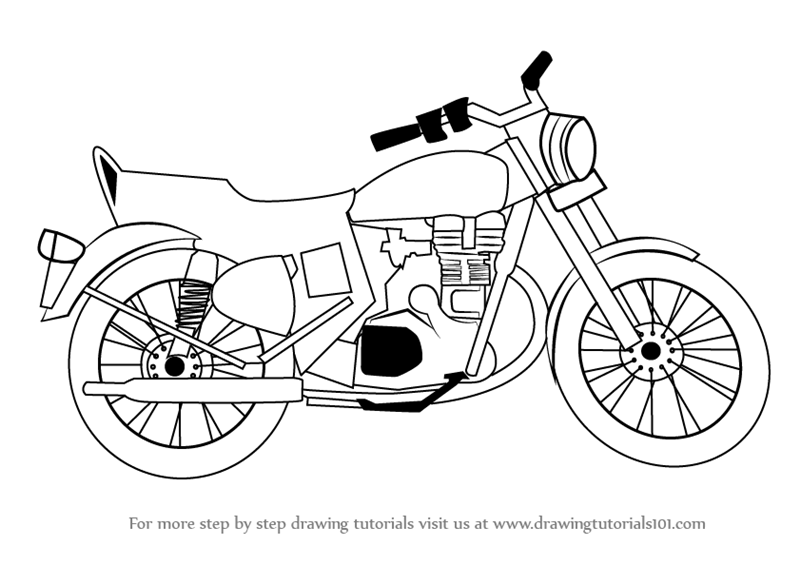 motorcycle sketch images  Learn How to Draw a Motorcycle (Two Wheelers) Step by Step : Drawing ...
