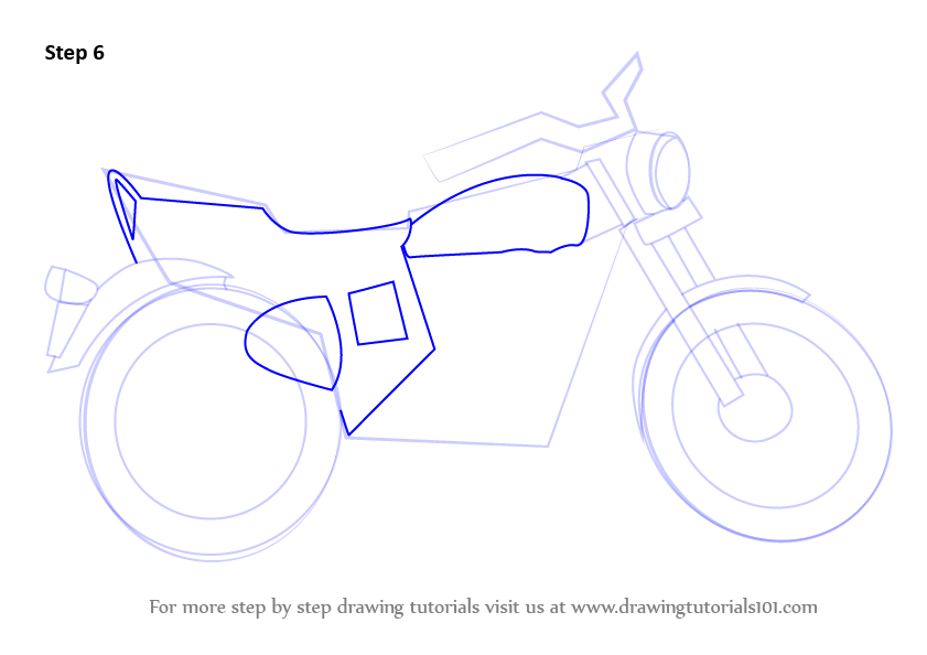 Learn How To Draw A Motorcycle  Two Wheelers  Step By Step   Drawing Tutorials