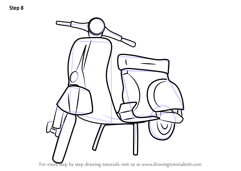 learn how to draw vespa scooter two wheelers step by