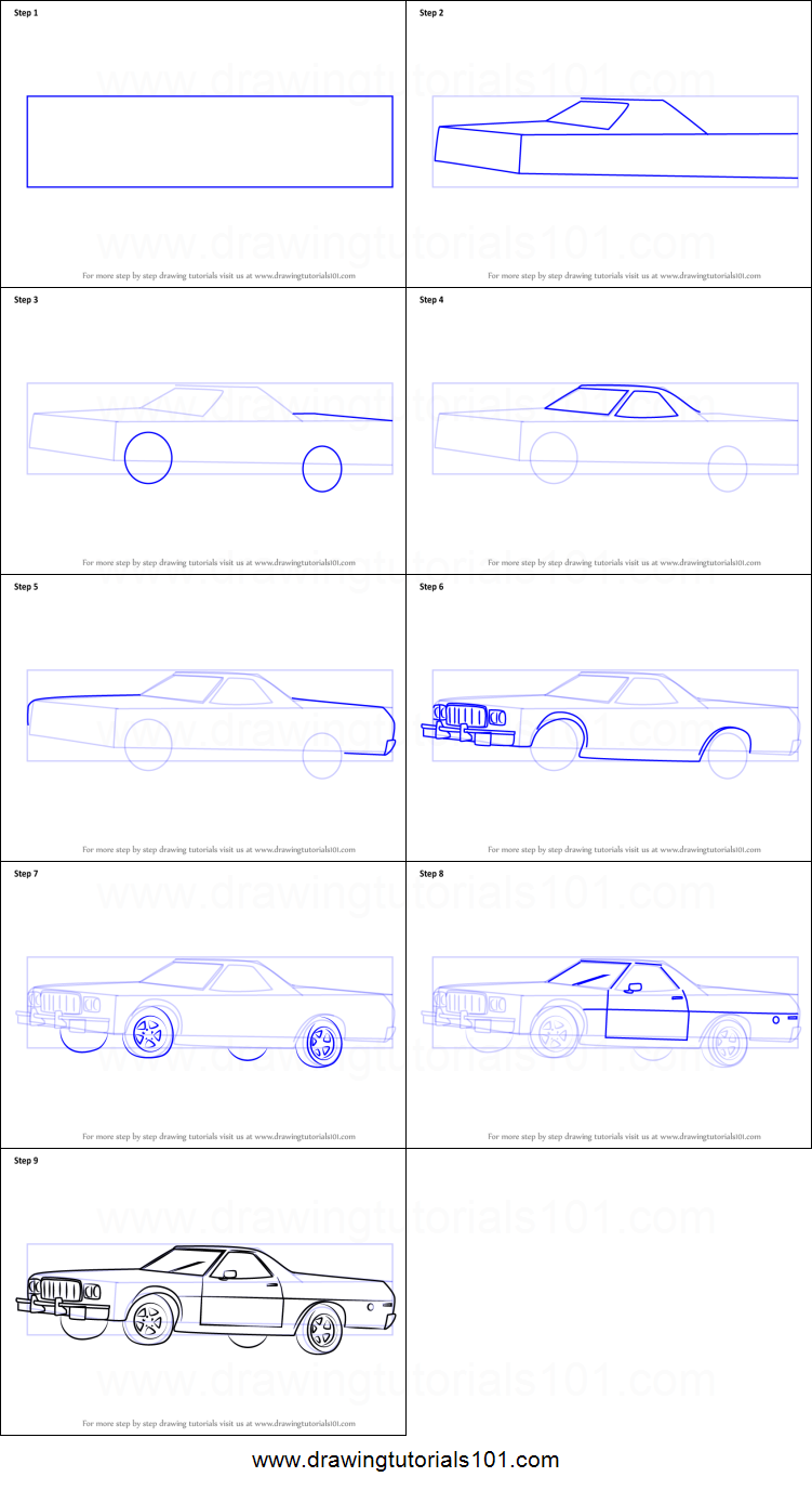 How to Draw an Old Car printable step by step drawing sheet ...