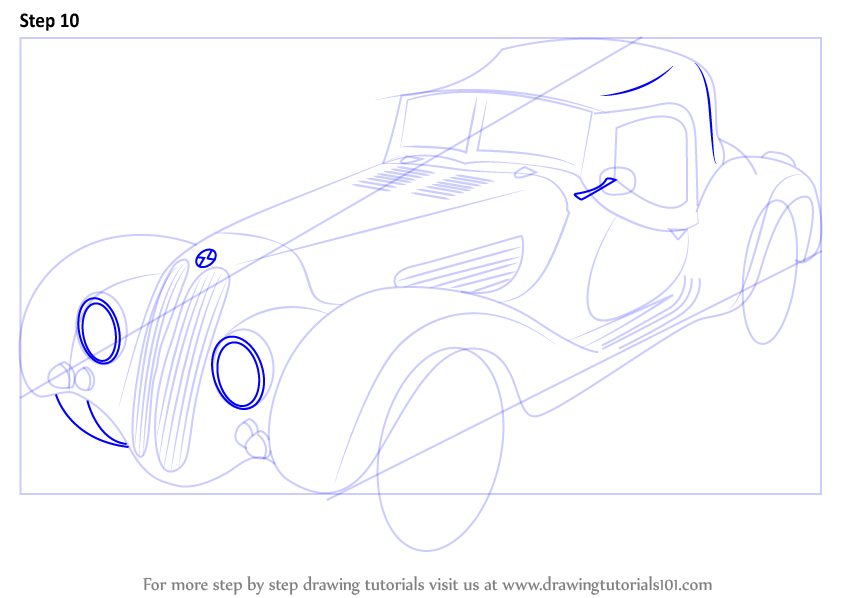 how to draw a tesla roadster step by step