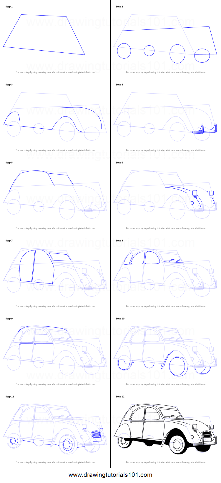 How To Draw A Vintage Car Printable Step By Step Drawing