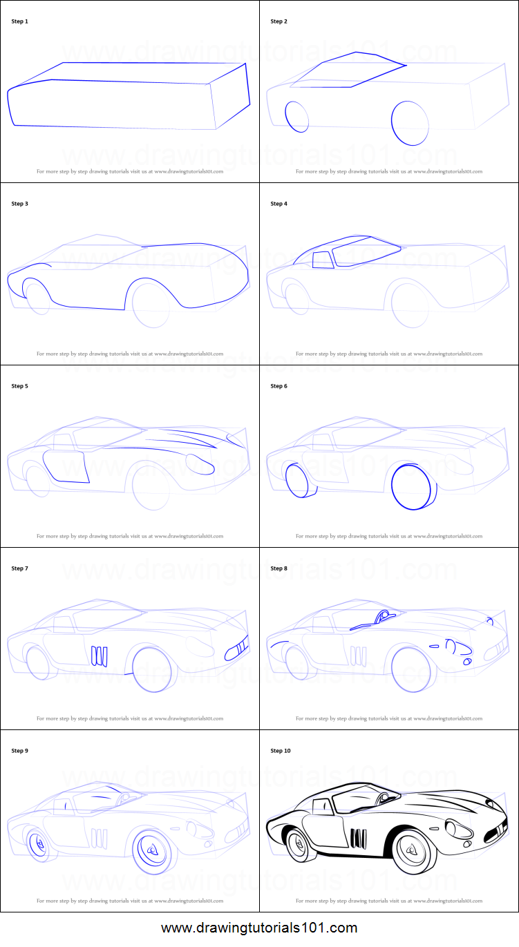 how to draw vintage ferrari printable stepstep drawing sheet