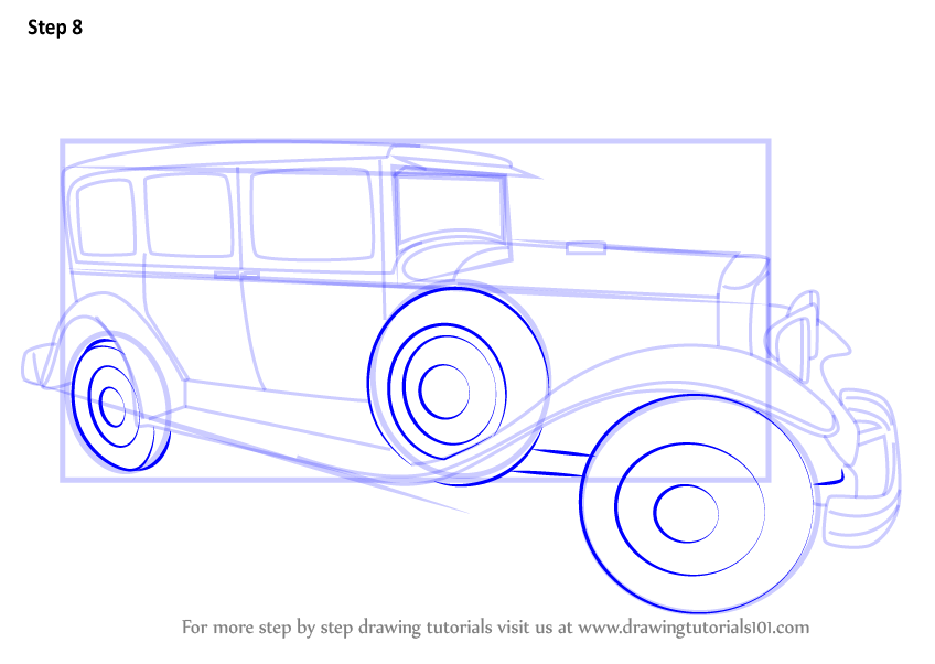 How To Draw Vintage Car Step