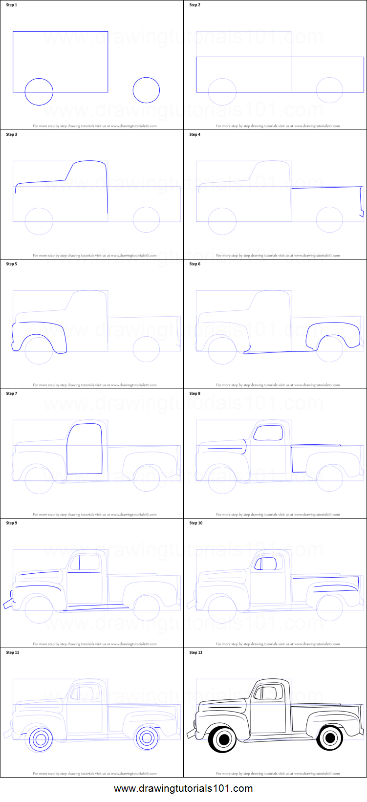 Uncategorized How To Draw A Truck Step By Step how to draw a vintage truck printable step by drawing sheet truck