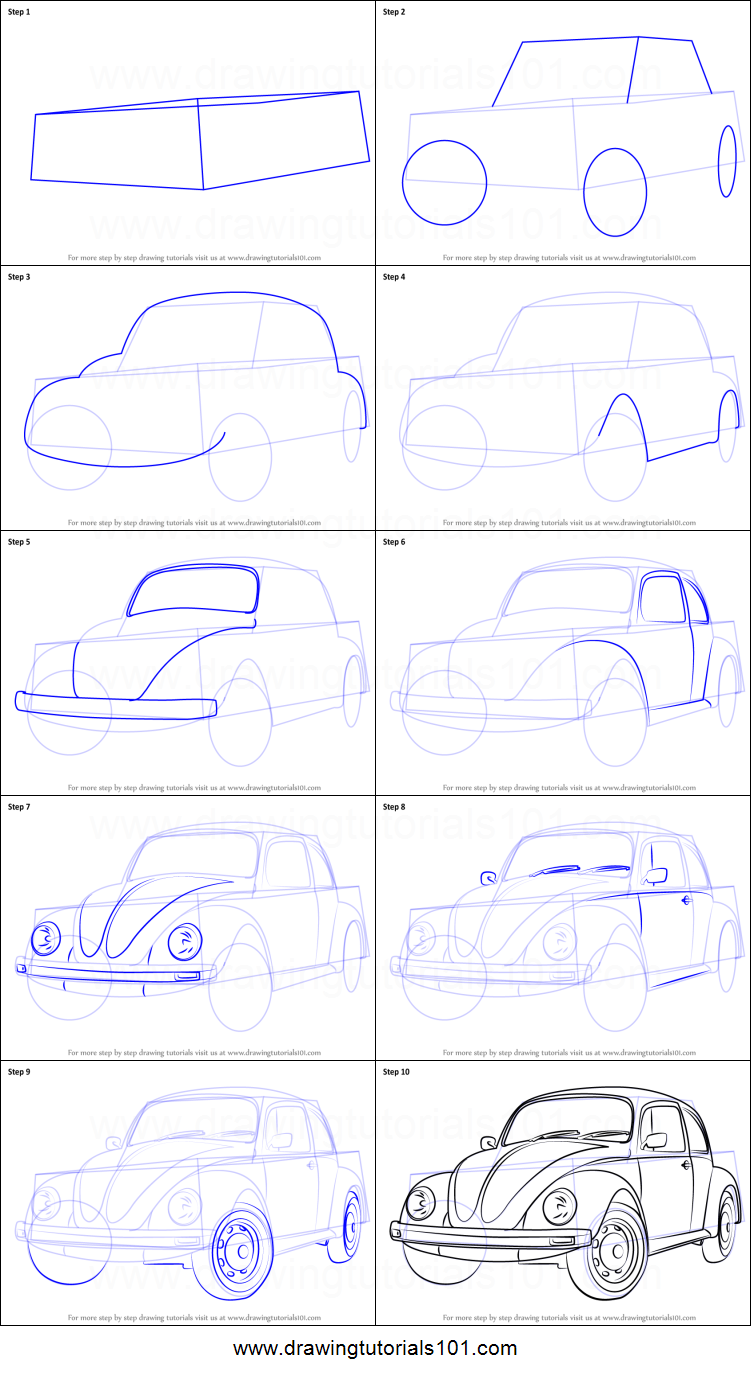 how to draw vintage volkswagen beetle printable step by step drawing sheet drawingtutorials101com