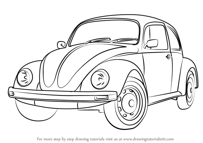 Learn How To Draw Vintage Volkswagen Beetle Vintage Step By Step