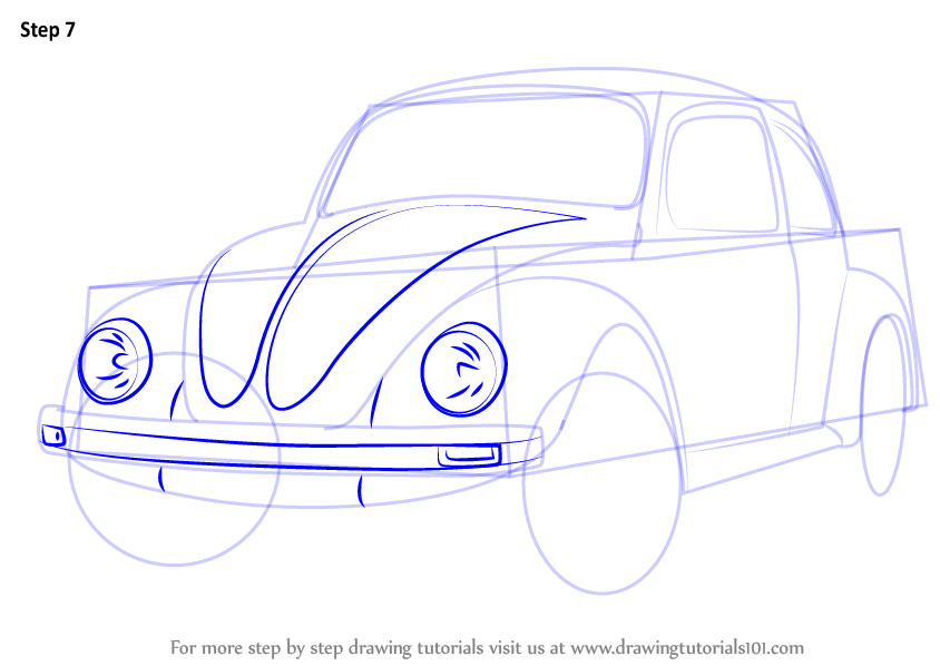 Learn How to Draw Vintage Volkswagen Beetle (Vintage) Step by Step : Drawing Tutorials
