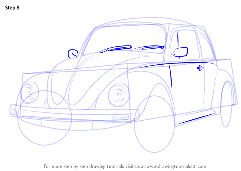 Step by Step How to Draw Vintage Volkswagen Beetle : DrawingTutorials101.com
