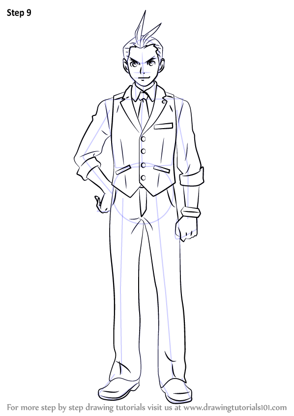 learn how to draw apollo justice from ace attorney  ace attorney  step by step   drawing tutorials