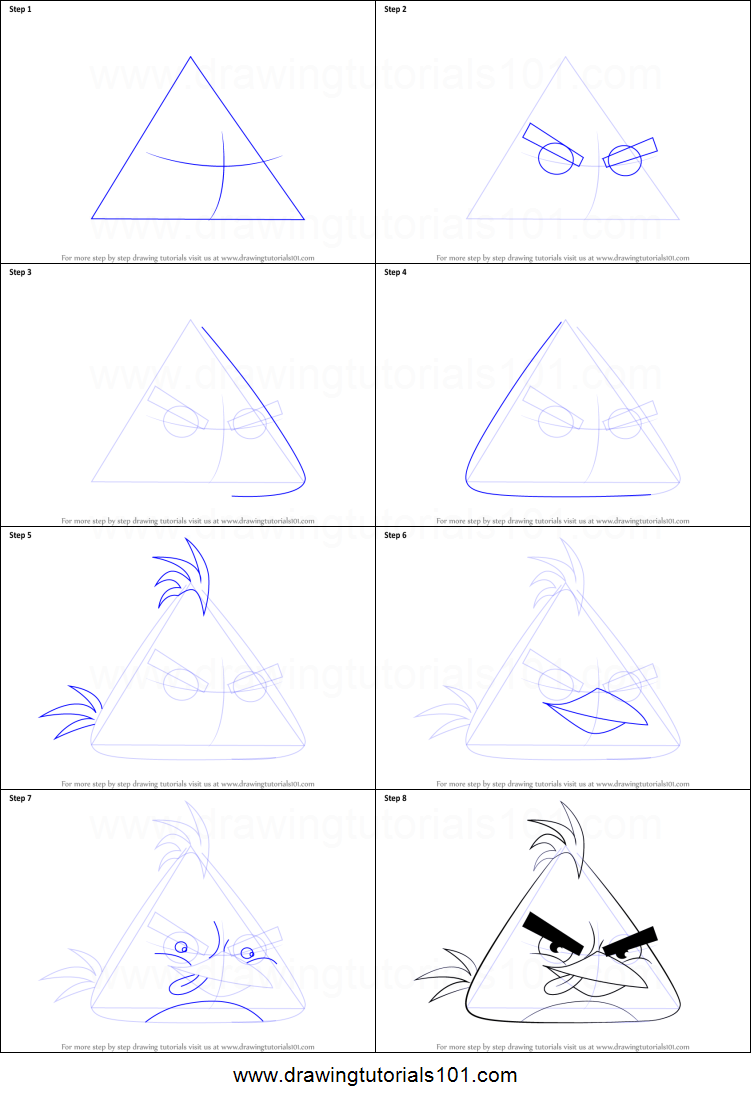 how to draw chuck from angry birds printable step by step drawing