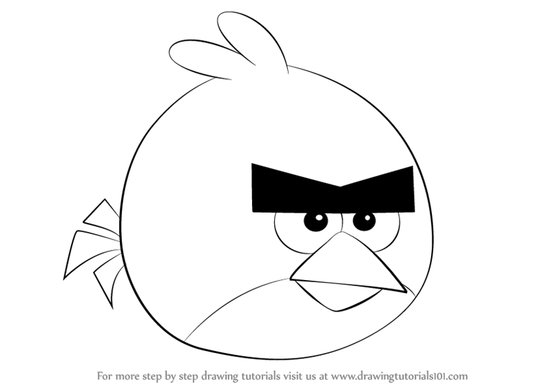 Learn how to draw red from angry birds angry birds step by step drawing tutorials