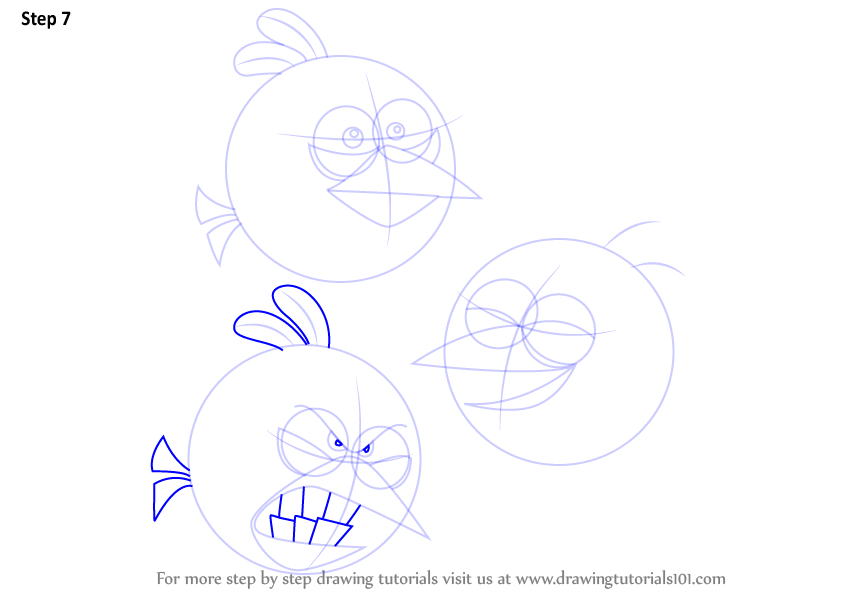 Learn How To Draw The Blues From Angry Birds (Angry Birds