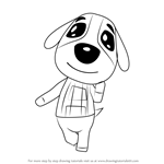 How to Draw Cookie from Animal Crossing
