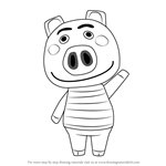 How to Draw Curly from Animal Crossing