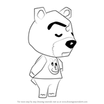 How to Draw Dozer from Animal Crossing