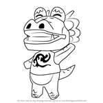 How to Draw Drago from Animal Crossing