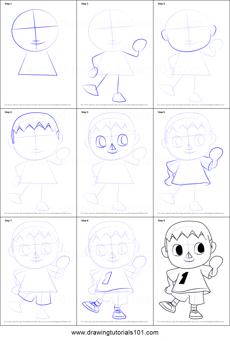 How To Draw The Villager From Animal Crossing Printable Step By