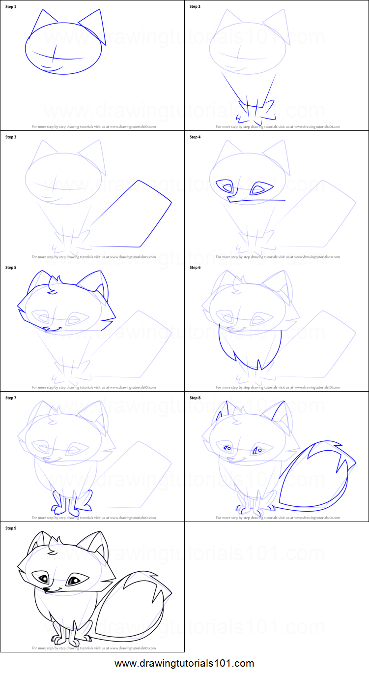 Step by step drawing tutorial on how to draw arctic fox from animal jam