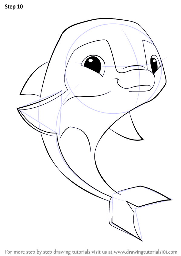 Step By Step How To Draw Dolphin From Animal Jam