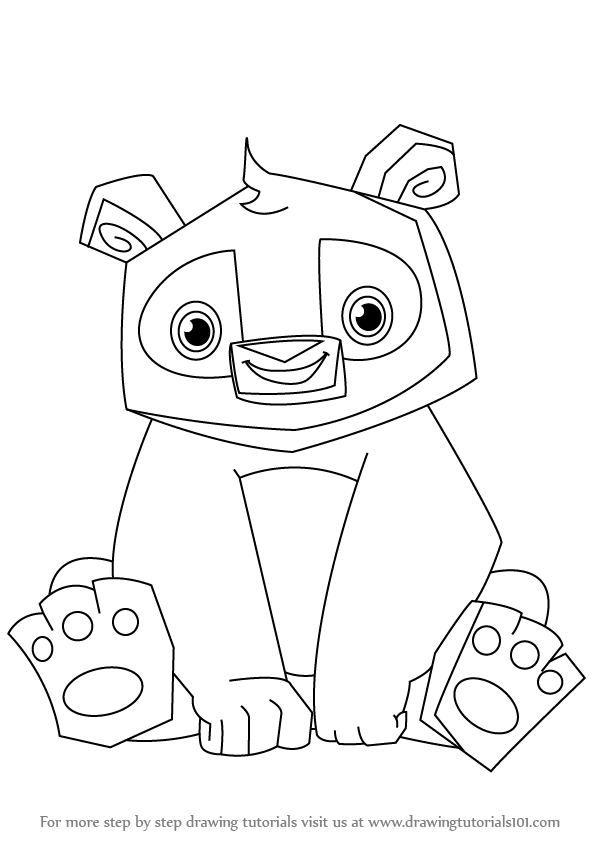 Learn How To Draw Panda From Animal Jam Animal Jam Step By Step