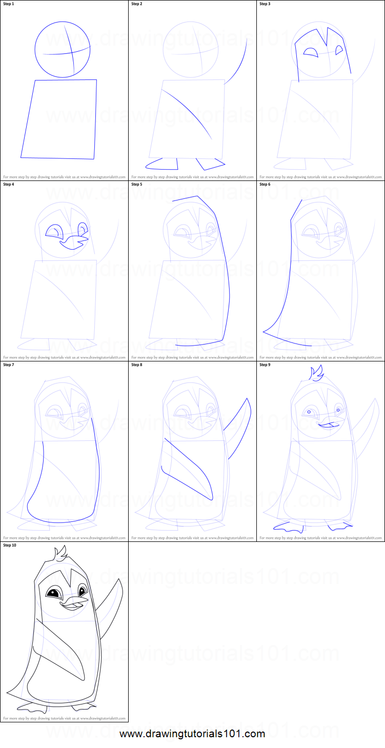 How To Draw Penguin From Animal Jam Printable Step By Step Drawing Sheet :  Drawingtutorials101