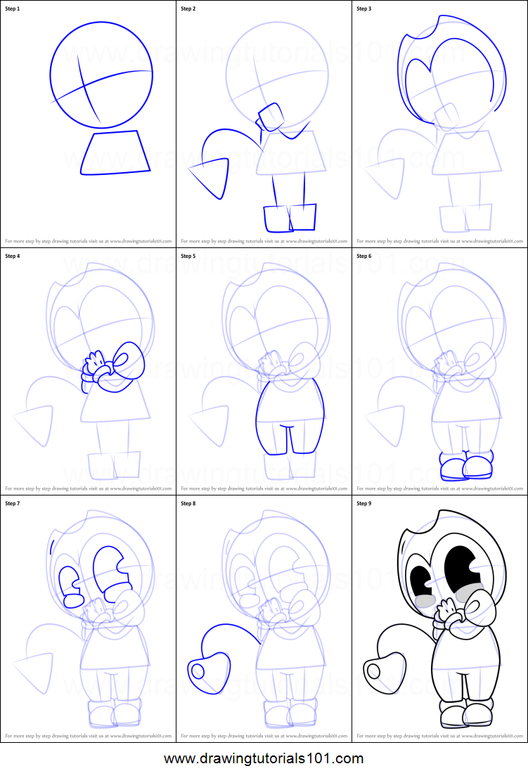 How to Draw Baby Bendy printable step by step drawing ...