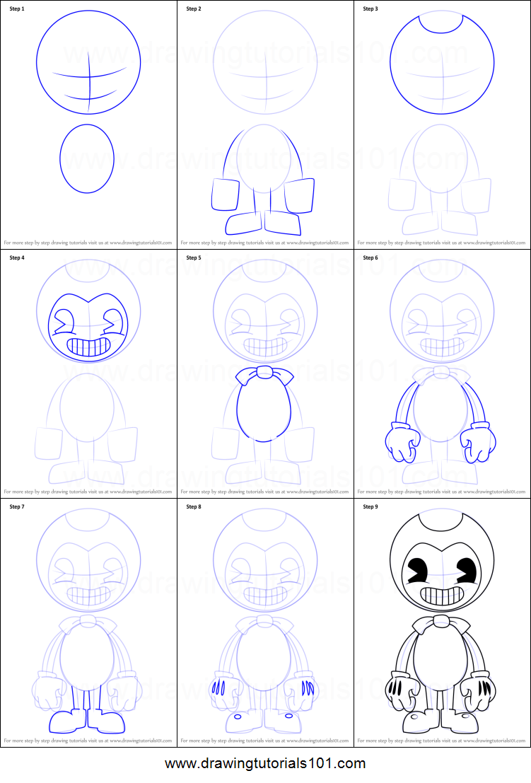how to draw bendy and the ink machine