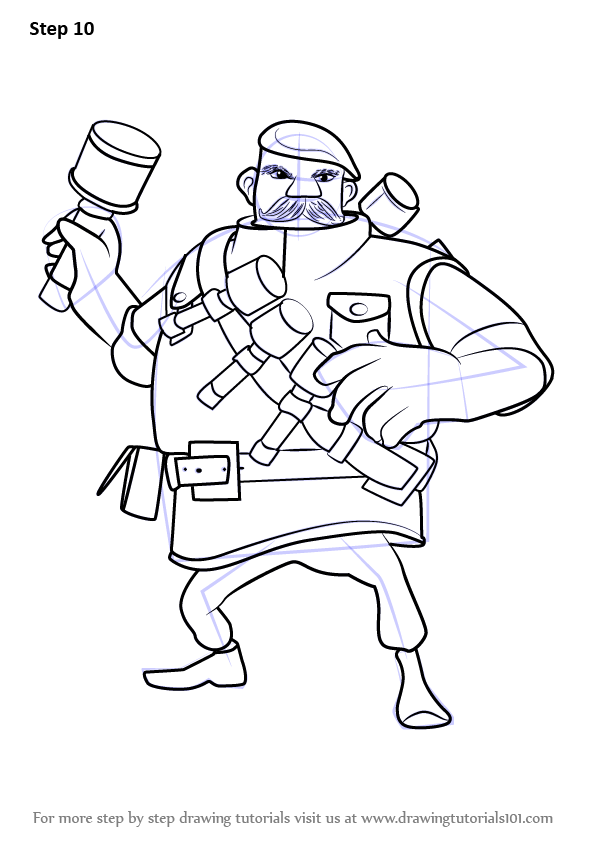 Learn How To Draw Grenadier From Boom Beach Step By