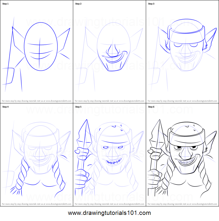 How to draw spear goblins from clash royale printable step by step drawing sheet drawingtutorials101 com
