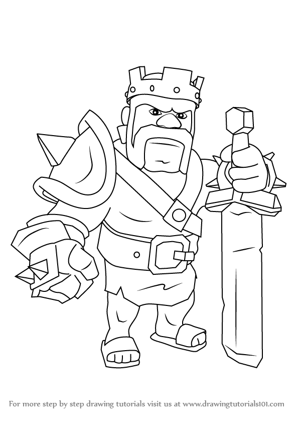 Learn How To Draw Barbarian King From Clash Of The Clans Clash Of Drawing King
