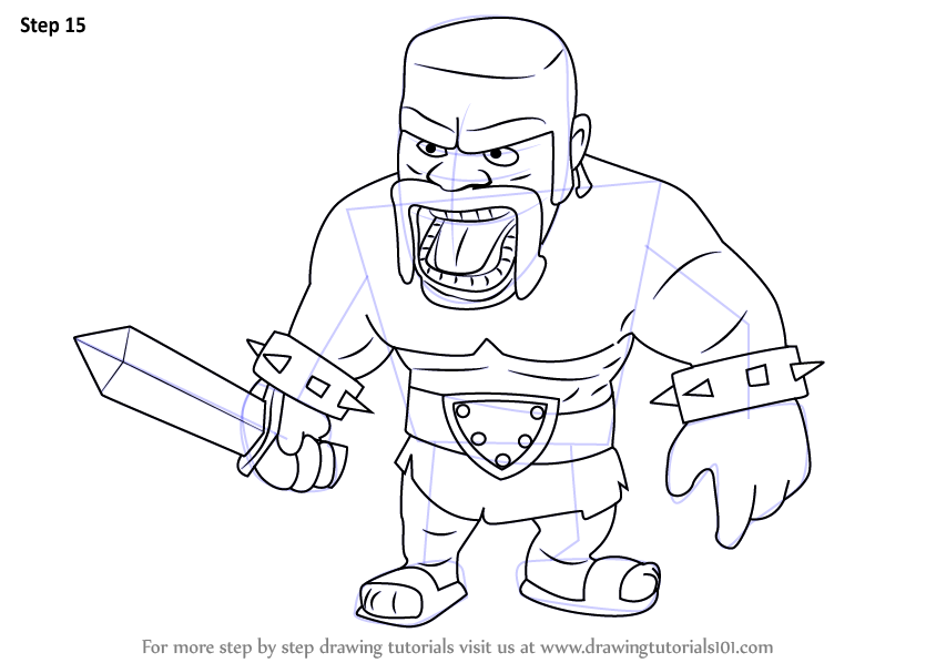 Clash Royale Personajes Para Colorear: Step By Step How To Draw Barbarian From Clash Of The Clans