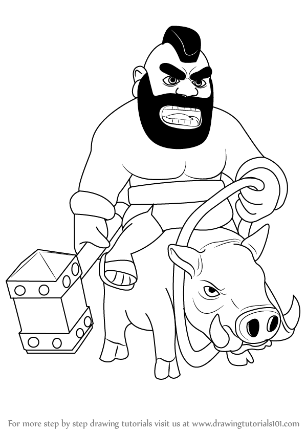 Learn How To Draw Hog Rider From Clash Of The Clans Clash