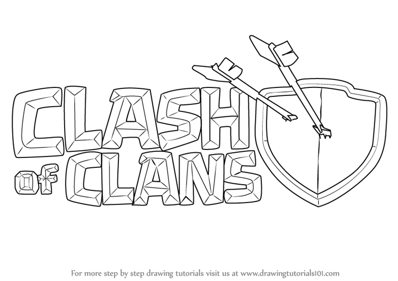 Learn How To Draw Clash Of Clans Logo Clash Of The Clans Step By