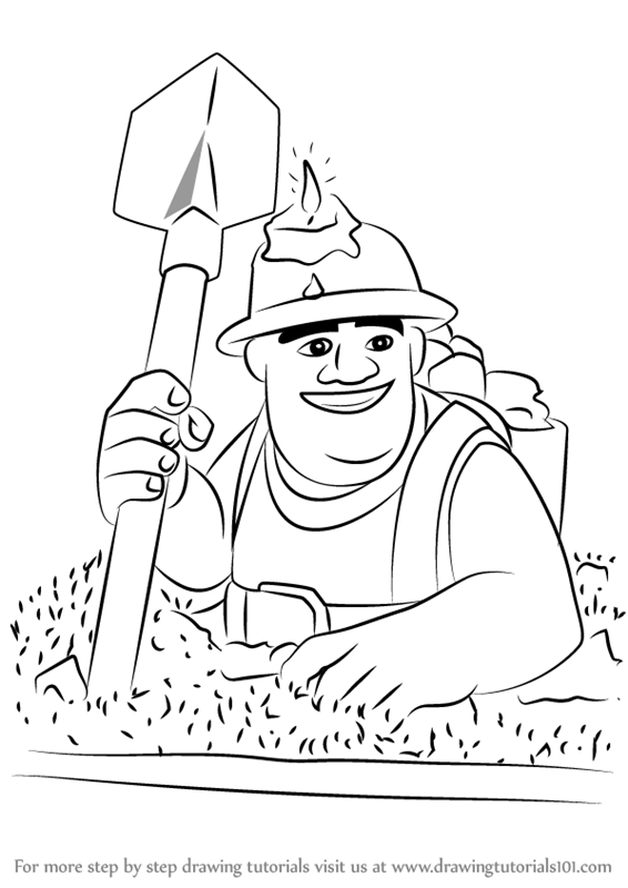 Electro Wizard Clash Royale Kleurplaat Learn How To Draw Miner From Clash Of The Clans Clash Of
