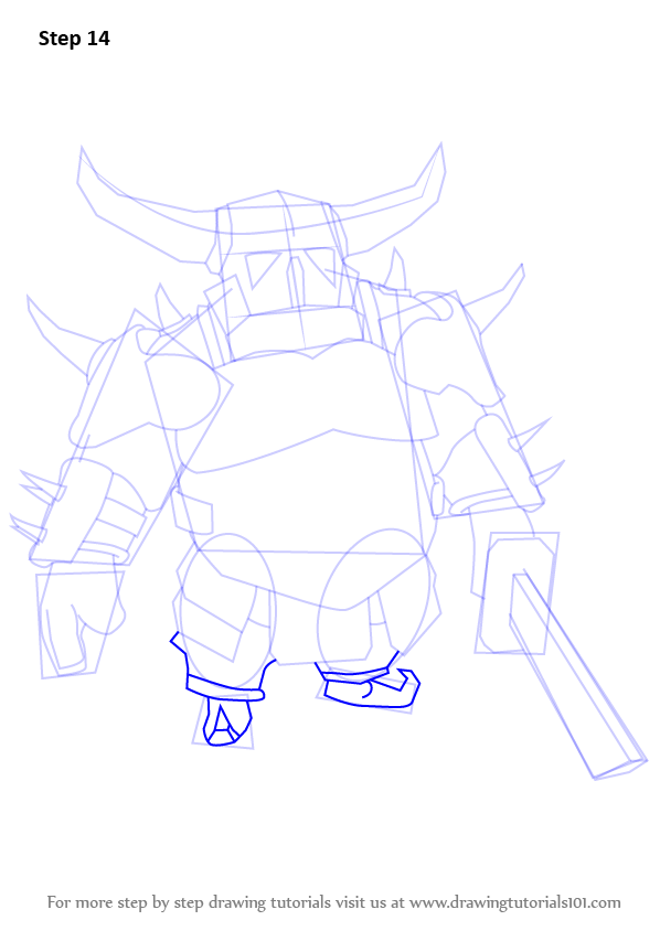 Step By Step How To Draw Pekka From Clash Of The Clans