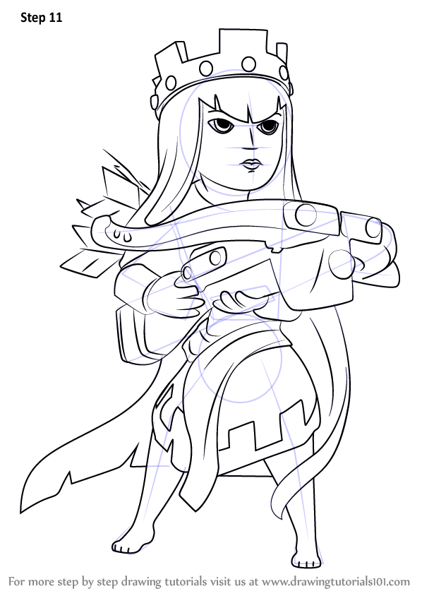 Learn How To Draw Queen Archer From Clash Of The Clans