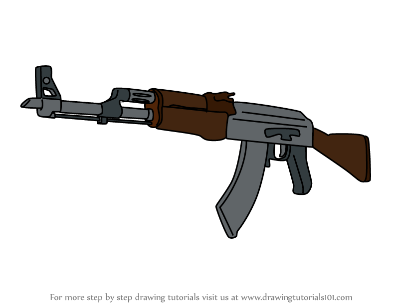 Learn How To Draw Ak 47 From Counter Strike Counter Strike Step By